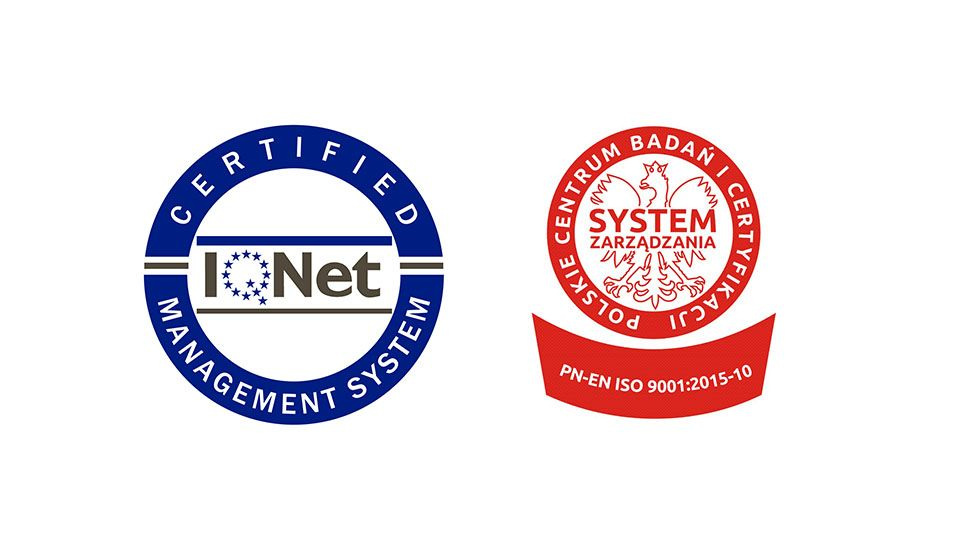 Posiadamy ważny certyfikat ISO PN-EN 9001:2015